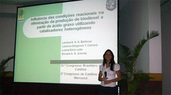 Larissa Noel, uma das melhores apresentações do Congresso Brasileiro de Catálise