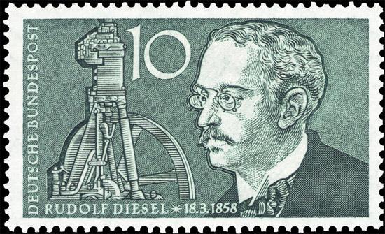 Selo alemão em homenagem a Rudolf Diesel