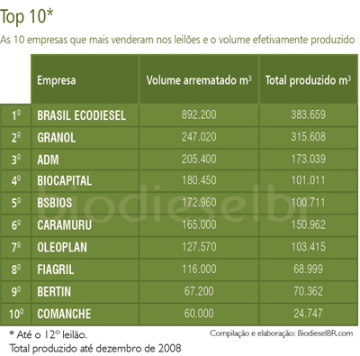 As 10 empresas que mais venderam nos leilões